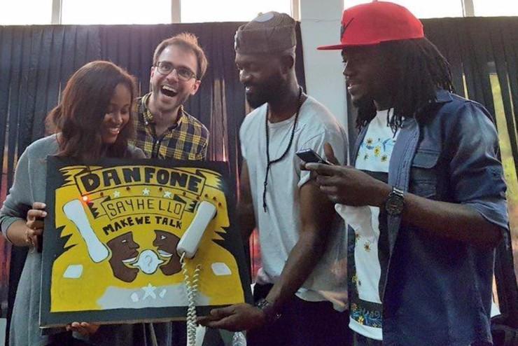 Desiree presenting the DanFone prototype with her team members, Yann Seznec, Inua Ellams and Jeremiah Ikongio